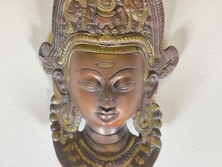 ASIAN BRONZE DEITY WAll MASK