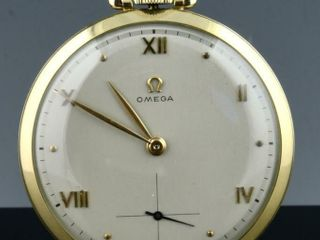 GOlD FIllED OMEGA 17J ART DECO DRESS POCKET WATCH