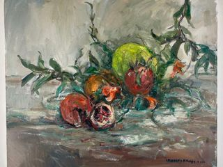 lEONARD BROOKS  GARDEN POMEGRANATES  PAINTING