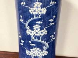 CHINESE BlUE WHITE BlOSSOM CANE UMBREllA VASE