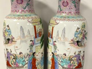 lARGE PAIR CHINESE REPUBlIC FAMIllE ROSE VASES