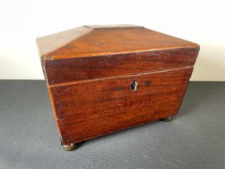 ANTIQUE MAHOGANY TEA CADDY HINGED BOX