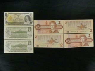 SHEET  3 1973 ONE DOllAR   4 1976 TWO DOllAR BIllS
