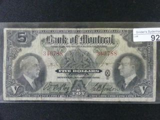 1935 BANK OF MONTREAl  5 BANKNOTE