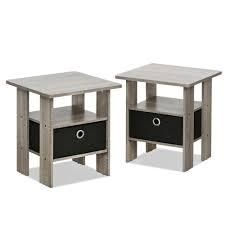 Furinno Home living French Oak Grey Storage End Table  Set of 2    MSRP  47 58