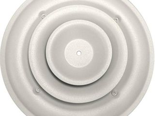 Speedi Grille 6 in  Round Ceiling Air Vent Register  White with Fixed Cone Diffuser and Bowtie Damper   MSRP  31 40