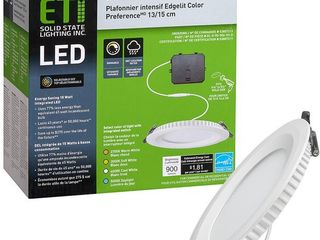 ETi 5 in  Canless New Construction Remodel Selectable Integrated lED Recessed Trim light 900 lumens Wet Rated   MSRP  24 57