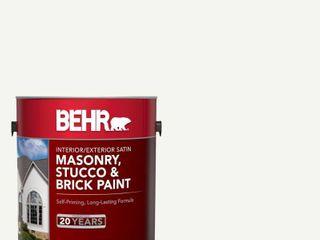 BEHR 1 gal   MS 31 White Satin Masonry  Stucco and Brick Interior Exterior Paint   MSRP  23 99