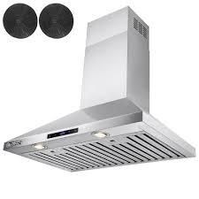 AKDY 30 in  Convertible Kitchen Wall Mount Range Hood in Stainless Steel with Touch Control and Carbon Filter   MSRP  269 99