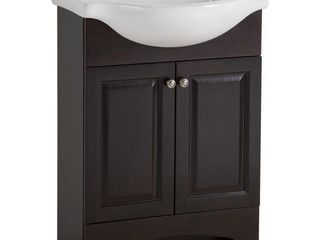 Chelsea 26 in  W x 36 in H x 18 in  D Bathroom Vanity in Charcoal with Porcelain Vanity Top in White with White Sink