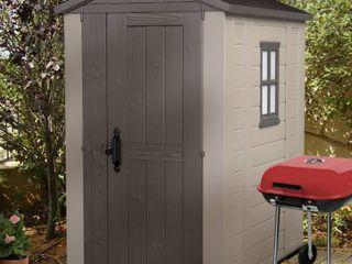 Keter Factor 4 ft  x 6 ft  Outdoor Storage Shed   MSRP  505 69