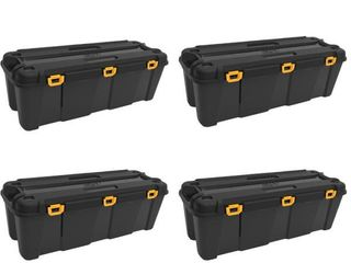Bunker 42 Gal  Heavy Duty Garage Storage Container Tub  4 Pack  No lids  Handle cracked see pics    MSRP  206 56