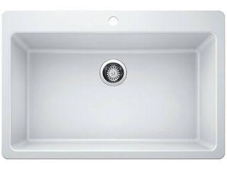 Glacier Bay Drop in Undermount Granite Composite 33 in  Single Bowl Kitchen Sink in White   MSRP  299 00