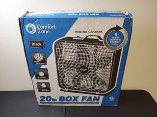 Comfort Zone CZ200ABK 20  3 Speed Box Fan for Full Force Air Circulation with Air Conditioner  Black   MSRP  37 99