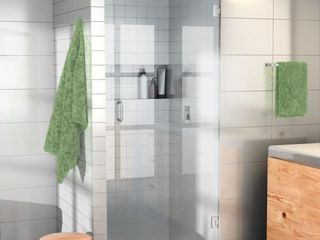 Glass Warehouse 26 in  W x 78 in  H Pivot Hinged Frameless Shower Door   MSRP  359 99