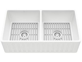 VIGO Matte Stone White Composite 33 in  Double Bowl Farmhouse Apron Front Kitchen Sink Set with Strainers and Silicone Grids   MSRP  739 90