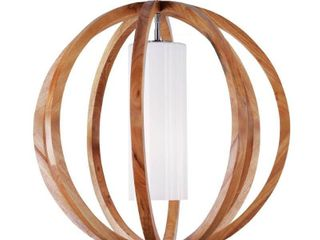 Feiss Allier Wood Brushed Steel large Pendant   MSRP  423 50