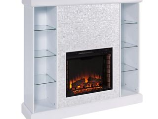 Southern Enterprises Bekston 55 in  Mosaic Tiled Curio Electric Fireplace in White   Mantel Only   MSRP  799 99