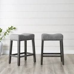 The Gray Barn Overlook Upholstered Backless Saddle Seat Bar Stools   Set of 2