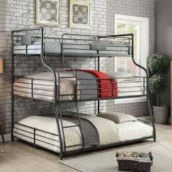 Furniture of America Syd Industrial Triple Decker Bunk Bed   Twin Xl Full Queen  BOX 1 OF 2