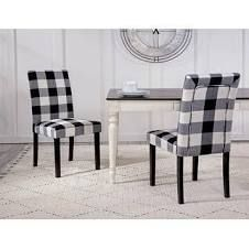 HomePop Parsons Plaid Dining Chairs   Set of 2