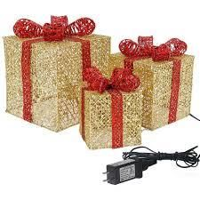 Sunnyglade 3 Piece Pre lit Gift Boxes