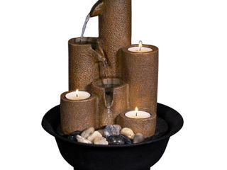 Alpine Corporation Pouring Tiers Tabletop Fountain w  3 Candles