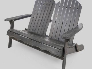 Malibu Outdoor Wood Adirondack loveseat only by Christopher Knight Home  Retail 238 99 dark grey