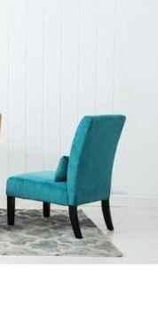 Porch   Den Vista Chenille Upholstered Armless Accent Chair with Matching Kidney Pillow  Retail 119 49 teal 1 only