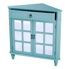 alfreds Heather ann mirror insert double door vivian corner cabinet turquoise blue