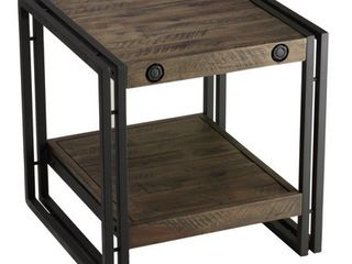 Cortesi Home Penni End Table  Solid Wood with Black Metal Frame  Dark Grey