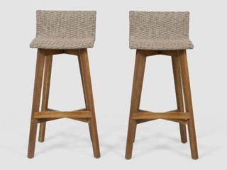 la brea outdoor acacia wood and wicker Barstools set of 2 by christopher knight light Brown Teak Finish  Retail 142 49