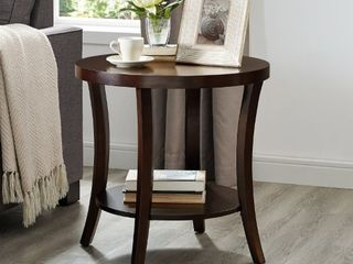 Perth Espresso Round End Table with Shelf  Retail 126 49