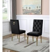 best quality furniture side chairs set of 2 black and golden