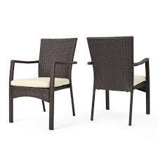 wicker chairs set of 2 multi brown and beige