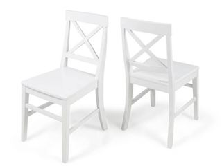 Roshan Farmhouse Acacia Wood Dining Chair  Set of 2  by Christopher Knight Home  Retail 149 99 white