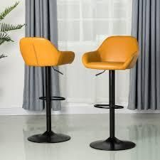 Glitzhome Mid Century Vintage leatherette Adjustable Bar Stool Set Of Two  Retail 238 49 mustard yellow