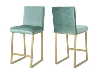 Toucanet Modern Velvet Barstools  Set of 2  by Christopher Knight Home  Retail 209 99 turquoise and brass