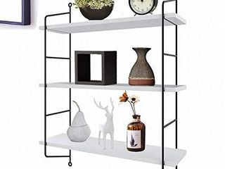 3 Tier Industrial Floating Shelves Wall Mounted Decorative Wall Shelf Hanging Storage Display Rack for Room Kitchen Office Bathroom  Black