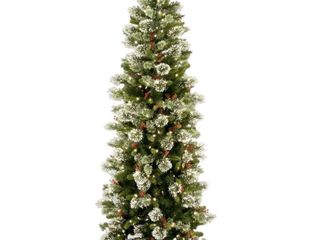 National Tree Pre lit 7 1 2  Wintry Pine Slim Hinged Artificial Christmas Tree with 400 Clear lights