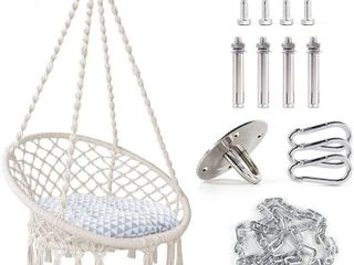 TOPNEW Hammock Swing Chair Macrame Hanging Chair  Bohemian Room Decor Cotton Rope Hammock Chair for Bedroom living Room Patio Deck Yard  Hanging Hardware and Cushion Included