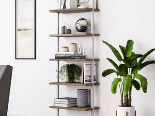Nathan James Theo 5 Shelf ladder Bookcase Natural light Brown Wooden Shelf and White Metal Frame