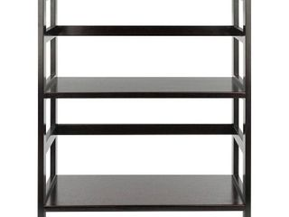 Winsome Wood leo 2 Section Wide Open Storage Shelf  Espresso