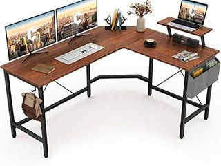 Cubiker Modern l Shaped Computer Office Desk  Corner Gaming Desk with Monitor Stand