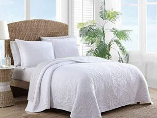 Tommy Bahama Costa Sera Collection Soft and Breathable  Quilt Bedpsread Coverlet Seasons  Pre Washed for Added Softness  King  White