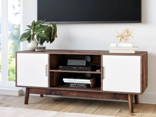 Nathan James Wesley Scandinavian TV Stand Media Console with Brown Frame and White Cabinet Doors