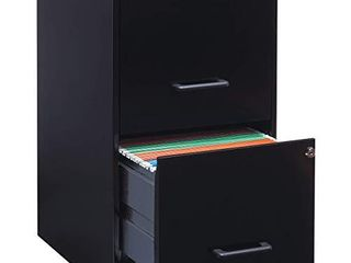 lorell 14341 18 Deep 2 Drawer File Cabinet  Black DAMAGED