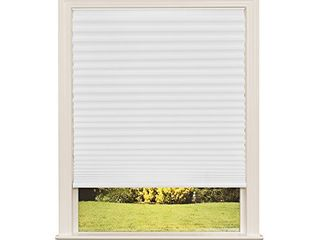 Easy lift Trim at Home Cordless Pleated light Filtering Fabric Shade White  60 in x 64 in   Fits windows 43  60