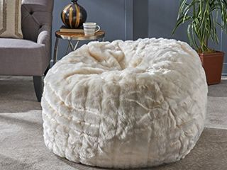 Christopher Knight Home laraine Furry Glam White Faux Fur 3 Ft  Bean Bag