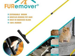 FURemover Broom SW 250I AMZ 6  Pet Hair Removal Tool with Squeegee   Telescoping Handle That Extends from 3   5  Black   Yellow